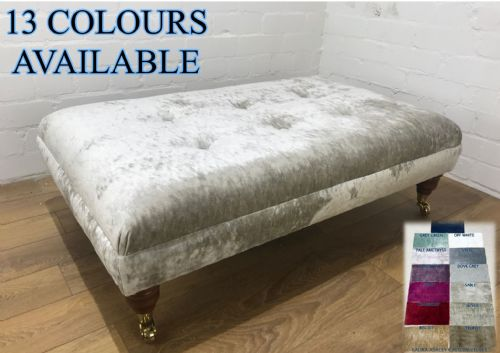 Laura Ashley BOARDER TOP footstool - Caitlyn Velvet  Fabric - Choice of colours